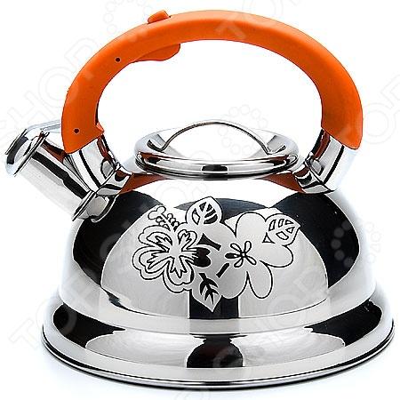 Чайник со свистком Mayer&amp;amp;Boch MB-22789. В ассортиментеЧайники со свистком и без свистка<br>Товар продается в ассортименте. Цвет изделия при комплектации заказа зависит от наличия цветового ассортимента товара на складе. Чайник со свистком Mayer Boch это чайник привлекательного дизайна, который будет не просто полезным аксессуаром на кухне, но и ее украшением. Достаточно большой объем чайника позволяет кипятить в нем достаточно воды для чаепития всей семьей. Свисток своевременно сообщит вам о закипании воды, так что вы можете не волноваться, что она случайно выкипит. На чайник нанесен рисунок, который при нагревании меняет цвет. Посуда и кухонные принадлежности компании Mayer Boch это новое поколение кухонной посуды, которое создано ведущими мировыми специалистами с использованием самых современных технологий. Компания выпускает экологически чистые изделия с соблюдением международных норм безопасности, так что вы сможете использовать посуду и кухонные приборы в быту долгие годы без вреда для здоровья.<br>