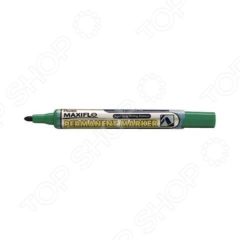 Маркер перманентный Pentel с жидкими чернилами подручный предмет, необходимый для разметки, маркировки и редактирования. Пригодится школьникам, студентам и офисным работникам. Маркер подходит для письма на бумаге, картоне и прочем. Оснащен кнопкой подкачки чернил. Длительность письма в 4 раза превышает обычные маркеры