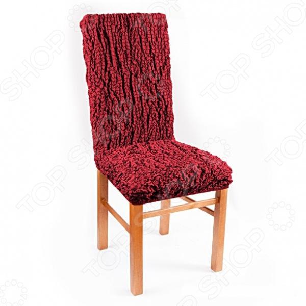Натяжной чехол на стул «Модерн. Рубин»Другие чехлы на мебель<br>Устали от однообразия окружающего интерьера Задумайтесь о ярких и красочных сменных чехлах для вашей мебели. Они не только позволят менять интерьер в зависимости от вашего настроения, времени года и торжества, но и надежно защитят поверхность мягкой мебели от бытового протирания, случайных пятен и шерсти домашних животных.  Преобразите ваш дом всего за несколько минут! Натяжной чехол на стул Модерн. Рубин великолепная модель для тех, кто предпочитает глубокие, насыщенные и динамические цвета в интерьере. Чехол прекрасно гармонирует с контрастными оттенками, поэтому смело сочетайте его элементами домашнего текстиля базовых цветов. Сочный гранатовый оттенок оживит окружающий интерьер, добавит чувственности и придаст квартире роскошный оттенок блеска рубинов. К тому же, любая комната, будь-то гостиная, спальня или гостевая, имеющая в декоре цвет драгоценного рубина будет выглядеть более яркой, богатой и современной.  Универсальный и практичный во всех отношениях! Натяжной еврочехол из серии Модерн идеальная находка для тех, кто ещё в поиске любимого интерьерного стиля или предпочитает комбинировать различные направления и веяния. Благодаря своему простому универсальному дизайну, он будет отлично смотреться в стиле:  марокканском;  авангард;  хай-тек,  техно;  модерн. Яркий чехол прекрасно закроет старую обивку стула, подарит ему новую жизнь и сделает композиционным центром любого помещения.  Сидит как влитой! Чехол предназначен для стандартных стульев, но также прекрасно сядет на модели с необычными спинками и формы прочный и качественный материал из сочетания хлопка, полиэстера с добавлением эластана прекрасно тянется. Цельная конструкция чехла полностью облегает спинку и сиденье. Есть и другие особенности ткани, из которой выполнен чехол:  приятна на ощупь за счет содержания натуральных хлопковых волокон;  экологична и гипоаллергена;  износостойкая;  не деформируется даже после многократных стирок;  не в
