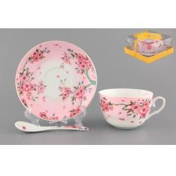 Купить Чашка чайная с блюдцем и ложкой Elan Gallery «Сакура»