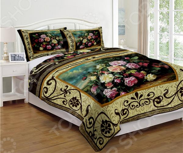 Комплект постельного белья «Дикая роза». 1-спальный1-спальные<br>Комплект постельного белья Дикая роза это незаменимый элемент вашей спальни. Человек треть своей жизни проводит в постели, и от ощущений, которые вы испытываете при прикосновении к простыням или наволочкам, многое зависит. Чтобы сон всегда был комфортным, а пробуждение приятным, мы предлагаем вам этот комплект постельного белья. Приятный цвет и высокое качество комплекта гарантирует, что атмосфера вашей спальни наполнится теплотой и уютом, а вы испытаете множество сладких мгновений спокойного сна. Комплект выполнен из ткани, состоящей на 100 из полиэстера, и обладает следующими преимуществами:  Гладкий и приятный на ощупь материал. Тип ткани атлас.  Рисунок нанесен на ткань с применением современных технологий печати, что делает его не только выразительным, но и долговечным.  Материал гипоаллергенен и безопасен для здоровья. Перед первым применением комплект постельного белья рекомендуется постирать. Перед этим выверните наизнанку наволочки и пододеяльник. Для сохранения цвета не используйте порошки, которые содержат отбеливатель. Рекомендуемая температура стирки 40 С и ниже без использования кондиционера или смягчителя воды. Обновите свою кровать таким комплектом постельного белья, и интерьер вашей комнаты заиграет новыми красками.<br>