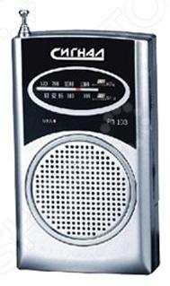 Радиоприемник СИГНАЛ РП-103Радиоприемники<br>Радиоприемник СИГНАЛ РП-103 переносное устройство, которое позволяет слушать любые радиостанции в диапазоне УКВ и СВ. Благодаря компактному корпусу из пластика радиоприемник можно всегда легко носить с собой, наслаждаясь любимыми песнями или интересными радио-программами. Радиоприемник оснащен выдвижной телескопической антенной, регулятором громкости и клипсой, которая позволяет удобно прикрепить его к одежде или сумке. Питание устройства осуществляется от 3 батареек типа AAA. Имеется разъем для наушников 3,5мм . Настройка частоты аналоговая. Напряжение питания 3В. Диапазон принимаемых частот:  УКВ 88-108 МГц;  СВ 530-1600 КГц.<br>