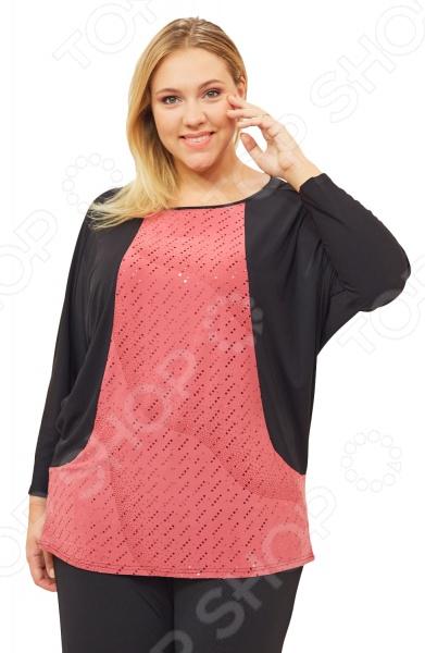 Блуза Pretty Woman «Вилла Россе». Цвет: розовый, черныйБлузы. Рубашки<br>Блуза Pretty Woman Вилла Россе незаменимая вещь в гардеробе модницы. Создана для женщин практически любой комплекции, ведь особенности кроя помогают скрыть недостатки и подчеркнуть достоинства фигуры. Эта блуза отлично подойдет для повседневного использования, она хорошо сочетается с юбками и брюками.  Длина до середины бедра.  Круглый вырез горловины.  Рукава летучая мышь.  Перед изделия выполнен из ткани контрастного оттенка и декорирован пайетками.  На фото представлена с брюками Лунная походка . Блуза сшита из мягкой ткани 50 вискоза, 50 полиэстер . Материал не линяет, не скатывается, формы от стирки не теряет. Швы обработаны текстурированными, эластичными нитями, благодаря чему не тянутся и не натирают кожу. Уникальная модель, которую можно приобрести только на нашем телеканале!<br>