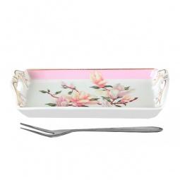 Купить Тарелка для лимона с вилкой Elan Gallery «Орхидея на розовом»