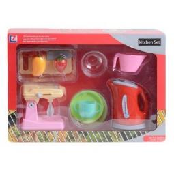 фото Игровой набор с техникой для кухни Shantou Gepai «Чайник, миксер и посуда»