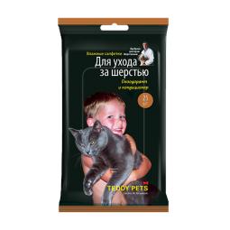 фото Салфетки влажные для животных Teddy Pets для ухода за шерстью, дезодорант и кондиционер