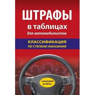 Купить Штрафы в таблицах для автомобилистов с изменениями на 2016 год (классификация по степени наказания)