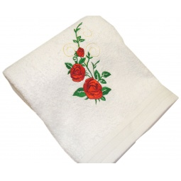 фото Полотенце подарочное с вышивкой TAC Roses. Цвет: белый