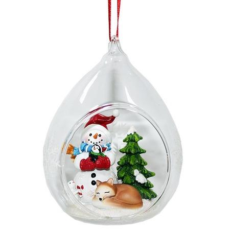 Купить Елочное украшение Crystal Deco «Снеговик с лисичкой»