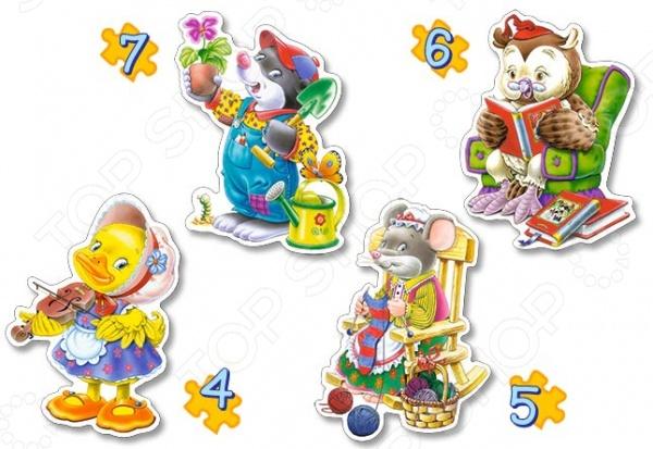 Набор пазлов 4 в 1 Castorland «Увлечения»Другие виды пазлов<br>Набор пазлов 4 в 1 Castorland Увлечения - развлекательный яркий пазл со сказочными героями. На 4-х различных частях пазла изображены иллюстрации героев-животных, у каждого из которых свое увлечение. Предназначен пазл для самых маленьких и для их веселого времяпрепровождения. Такая игра способствует развитию логического мышления, учит различать предметы по цвету, форме и развивает мелкую моторику рук ребенка. Также такой набор позволит узнать различать разновидности увлечений Такой пазл станет отличным подарком для вашего ребенка.<br>