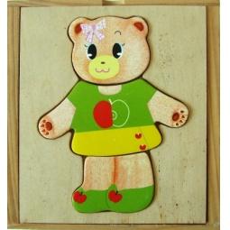 Купить Пазл деревянный с набором одежды ADEX «Медвежонок №2»