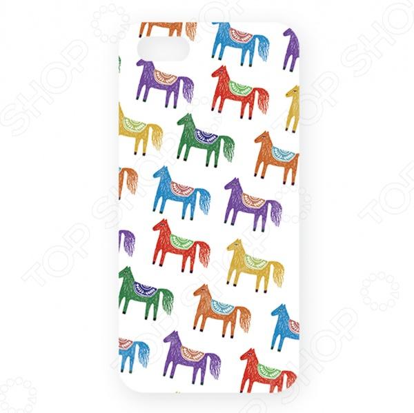 Чехол для iPhone 5 Mitya Veselkov «Цветные лошадки» чехлы для телефонов mitya veselkov чехол для iphone 6 цветные лошадки