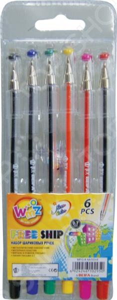 Набор ручек шариковых Beifa АА 103-6Набор ручек шариковых Beifa АА 103-6 - набор из 6-ти цветных шариковых ручек, которые закрываются с помощью колпачка. Изготовлены из качественного материала. Имеют простой и удобный корпус, который не скользит в руке во время письма. Цвет резинки колпачка соответствует цвету чернил. Такой набор станет прекрасным дополнением к канцелярским принадлежностям вашего ребенка. Цветные ручки позволят осуществить удобную маркировку в личных записях.<br>