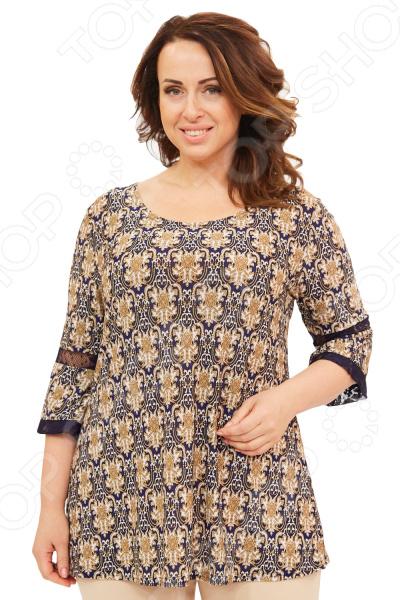 Блуза Матекс «Свидание при луне». Цвет: коричневыйБлузы. Рубашки<br>Блуза Матекс Свидание при луне незаменимая вещь в гардеробе модницы. Подойдет для женщин практически любой комплекции, ведь особенности кроя помогают скрыть недостатки и подчеркнуть достоинства фигуры. Эта блуза полуприталенного силуэта отлично подойдет для повседневного использования.  Удобная длина надо середины бедра будет идеально смотреться на женщинах с любым типом фигуры и любого возраста.  Выразительный фасон позволяют надеть ее не только в офис или на прогулку, но и на официальные мероприятия.  Круглый вырез горловины изящно сочетается с расклешенными рукавами 3 4. На рукавах вставки из кружева.  На фото с брюками Кориандр . Блуза изготовлена из высококачественного трикотажа 100 полиэстер . Полиэстер предохраняет вещь от измятия и быстро высыхает после стирки. Швы обработаны текстурированными, эластичными нитями, благодаря чему не тянутся и не натирают кожу.<br>