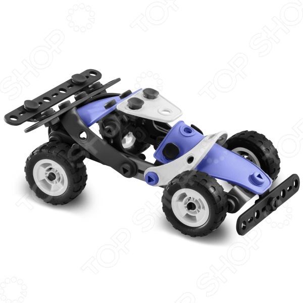Конструктор-игрушка Meccano Гоночная машина прекрасный подарок для юного конструктора! Игровой набор не только обучает и развлекает, но и помогает развивать мелкую моторику рук, логическое мышление и воображение ребенка. Комплект содержит детали и инструменты гаечный ключ и отвертка , с помощью которых можно собрать оригинальную модель для игры. Из этих деталей можно создать несколько видов транспорта. Все детали выполнены из нетоксичных полимерных материалов, поэтому полностью безопасны для ребенка.