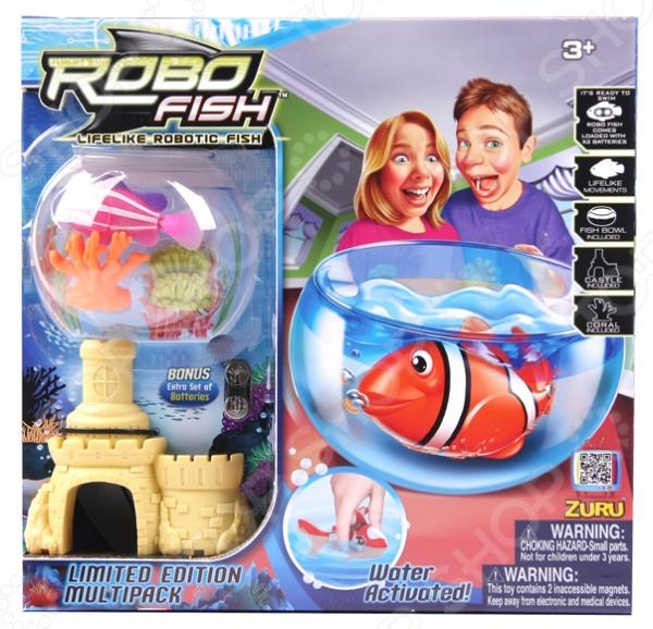 Набор игровой интерактивный Robofish «РобоРыбка с 2 кораллами, замком и аквариумом»
