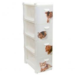 Купить Комод 4-х секционный узкий IDEA «Альт Деко. Котята»