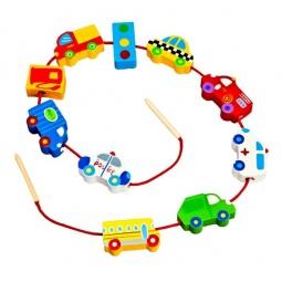 фото Игра развивающая для малыша Mapacha «Шнуровка - бусы. Транспорт»