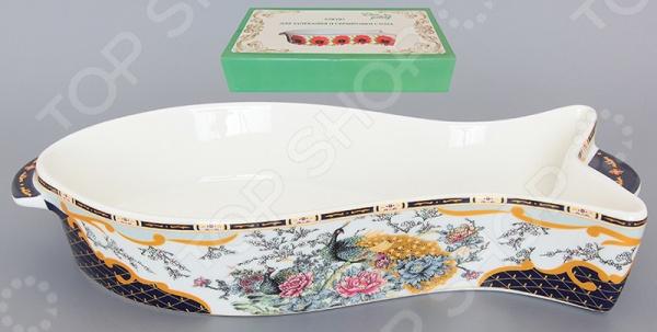 фото Блюдо для запекания Elan Gallery «Павлин на золоте», Керамические формы для выпечки и готовки