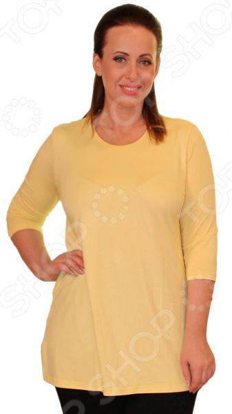 Туника Матекс «Милена». Цвет: желтыйТуники<br>Туника Матекс Милена это великолепная вещь, которая создана с учетом всех особенностей женской фигуры. В этой тунике вы будете чувствовать себя тепло и комфортно как на работе, так и на любой вечеринке. Тунику можно носить не только с брюками, но и с юбками, ведь цвет универсален. Кроме того, вырез горловины округлый, что подчеркивает красоту шеи и линию декольте. Длина изделия удачно подчеркивает талию и делает силуэт выше, а длинные рукава скроют полноту рук. Однотонная расцветка подходит для сочетания с пиджаками и блузками. Начиная с 64 размера сзади туники идёт шов. Сшита туника из мягкого материала 95 вискоза, 5 полиэстер , которая хорошо пропускает воздух и является антистатической, не скатывается при стирке и ношении. Полиэстер поможет сохранить вещь в отличном состоянии, даже после многих стирок ткань не вытянется и не полиняет. Однако, будьте внимательны при стирке, ведь в мокром состоянии такие вещи легко теряют прочность. Начиная с 64 размера, сзади туники идет шов.<br>