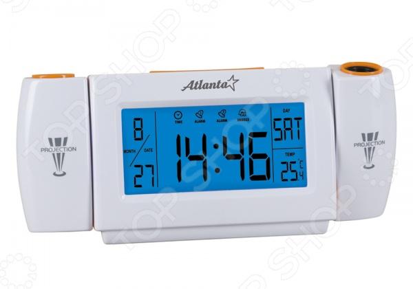 Часы настольные Atlanta ATH-2506 современные часы для дополнения полезных атрибутов в доме. Такие часы пробудят вас утром приятной мелодией. Имеют проекторы на время и температуру. Компактные часы можно с легкостью разместить на ночной столик рядом с кроватью или сподручную полку и наслаждаться каждое утро чириканьем птиц. Питается от 3х батареек 1,5V, типа АAA. Особенности:  Активация голосом.  Большой, контрастный дисплей.  Подсветка синего цвета.  Календарь.  Два будильника.  Термометр.