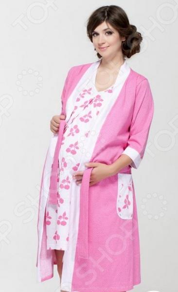 Комплект: халат и сорочка для беременных Nuova Vita 336.1. Цвет: розовый для беременных диета
