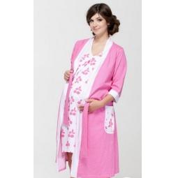 Купить Комплект: халат и сорочка для беременных Nuova Vita 336.1. Цвет: розовый