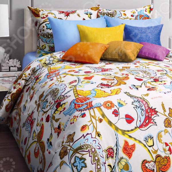 Комплект постельного белья Mona Liza Baileys. 2-спальный2-спальные<br>Здоровый и комфортный сон зависит не только от того насколько ваш матрас и подушка мягкие и удобные, но и, не в последнюю очередь, от того на каком постельном белье вы спите ежедневно. Очень важно при выборе постельного белья ориентироваться не только на его цену и яркий дизайн, но и на качество, и тонкость материала. Жесткие и плотные ткани, пусть даже и натуральные, не подходят для ежедневного использования, ведь они могут причинить коже удивительный дискомфорт, вызвав её покраснения и раздражения. Комплект постельного белья Mona Liza Baileys яркий и оригинальный комплект постельного белья, выполненный из импортной набивной бязи. Этот высококачественный материал изготовляется из нитей 100 натурального хлопка и отличается свой прочностью, экологичностью и мягкостью. Он не будет вызывать раздражение или аллергию даже у самой нежной и чувствительной кожи. Легкая и гигроскопическая ткань отличается незначительной сминаемостью, поэтому белье не собирается в грубые складки даже во время самого беспокойного сна, не подвержена образованию катышков. Этот комплект белья вас покорит, благодаря тому, что легко стирается и гладится. Он не растягивается и прекрасно держит свою форму даже после многочисленных стирок. Так как для пошива используются широкие ткани, внешний вид белья не будут портить дополнительные швы по середине. Наволочки выполнены в тон пододеяльника. Комплект постельного белья отличается удивительной тонкостью и качеством, которое придает ему особую изысканность. Интересный современный дизайн белья с оригинальным принтом станет прекрасным дополнением интерьера любой комнаты. Чтобы постельное белье прослужило как можно дольше, его рекомендуется стирать при температуре 40 С без использования сильных отбеливающих веществ. Не стирайте белье с другими вещами. Чтобы рисунок сохранил свою яркость и насыщенность как можно дольше, стирайте и гладьте белье с изнаночной стороны.<br>