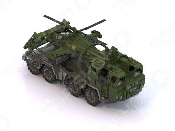 Машинка игрушечная Нордпласт «Военный тягач с щитом и вертолетом»