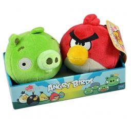 фото Мягкая игрушка Angry Birds на подставке «Птица и свинка»