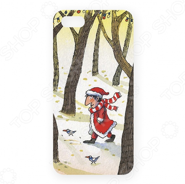 Чехол для iPhone 5 Mitya Veselkov «Дед Мороз в лесу»