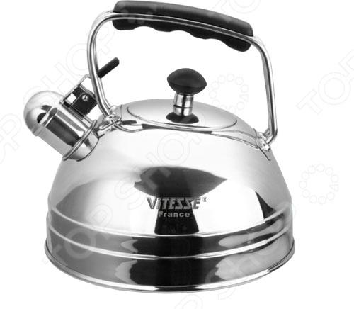 Чайник со свистком Vitesse OdinaЧайники со свистком и без свистка<br>Чайник с откидным свистком Vitesse Odina имеет форму полусферы и зеркальную полировку. Благодаря этому он отлично впишется в интерьер любой кухни. Быстро вскипятить воду поможет мнoгocлoйнoe тepмoaккyмyлиpyющee дно. Подойдет для чугунных, индукционных, стеклокерамических, галогеновых и газовых конфорок.<br>