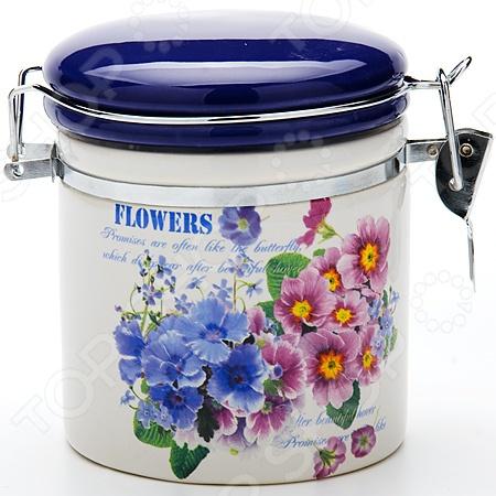 Банка для сыпучих продуктов Loraine Flowers набор банок для сыпучих продуктов loraine бабочки 6 предметов 25633