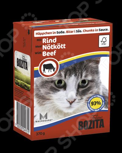 Корм консервированный для кошек Bozita Chunks in Sauce with BeefВлажные корма<br>Корм консервированный для кошек Bozita Chunks in Sauce with Beef вкуснейшее лакомство для вашего питомца, в составе которого только натуральные компоненты, без красителей и консервантов. Они оказывают благотворное влияние на организм кошки, препятствуют ожирению, улучшают пищеварение, восстанавливают баланс витаминов и минералов. Высокое содержание таурина способствует улучшению зрения и репродуктивной функции. Состав: курица, говядина рубленая 6 , свинина, укроп, карбонат кальция, дрожжи. Содержание: протеин 8,5 , жиры 4,5 , растительные волокна 0,5 , зольные вещества 2,3 , влажность 83 , кальций 0,35 , фосфор 0,3 , магний 0,02 . Содержание добавок на 1000г : А 2000ME, D3 200ME, Е 12мг, таурин 700мг, медь 2мг, марганец 1,8мг, цинк 14мг, йод 0,1мг. Не содержит сахара. Рекомендации по ежедневному рациону вес кошки,кг объем порции,г : 1 75, 2 150, 3 230, 4 300, 5 380, 6 455, 7 530. Хранить корм в открытом виде в течение 2-х дней при температуре не более 8 градусов.<br>