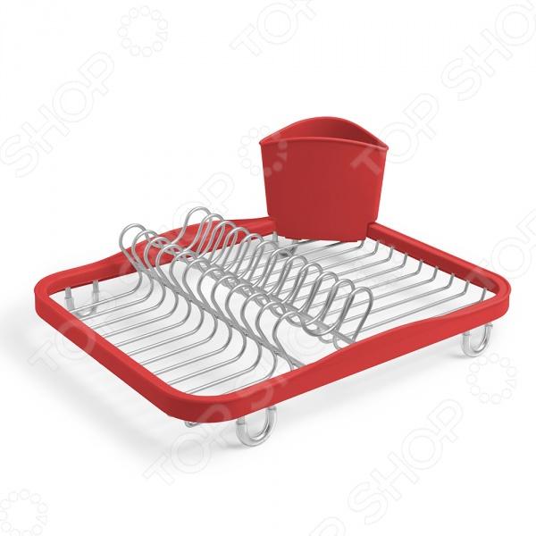 Сушилка для посуды Umbra Sink InСушилки для посуды<br>Сушилка для посуды Umbra Sink In полезный в быту предмет для хранения и сушки посуды. Конструкция оснащена удобными отделениями под столовые приборы и кружки. Съемный пластиковый контейнер удобен для сушки столовых приборов. Стальная часть конструкции защищена от коррозии. Компактность сушилки позволит расположить ее по вашему усмотрению. Оригинальный и современный внешний вид идеально дополнит интерьер кухни. Дизайн: Helen T. Miller.<br>