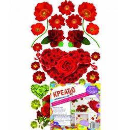 фото Наклейка декоративная Креатто «Волшебные цветы». Цвет: красный