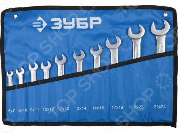 Набор ключей рожковых Зубр «Профи» 27027-H10 набор ключей рожковых гаечных stayer profi 27037 h6