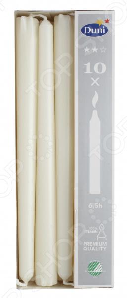 Набор свечей Duni 151067Свечи. Подсвечники<br>Теплый и мягкий свет свечи отличный способ создать в комнате приятную, романтическую атмосферу. Такого эффекта вы не сможете добиться ни с одной искусственной светодиодной свечой! Живой, мерцающий огонек способен поднять настроение, и даже самая обычная комната приобретает особую атмосферу уюта, очарования и покоя. К тому же свечи являются отличным средством для снятия усталости, раздражительности и грусти.  Создайте у вас дома атмосферу спокойствия и уюта! Набор свечей Duni 151067 набор полезных и приятных предметов декора, который поможет легко изменить внешний вид вашего интерьера. Используйте его в качестве элемента романтического ужина или расслабляющего отдыха в ванной комнате, в качестве простого элемента уютной атмосферы или праздничного украшения. Предназначение этих декоративных свечей универсальное! Высокие и достаточно тонкие свечи также могут использоваться в качестве декора по случаю особых торжеств, для украшения выставочных залов, праздничных композиций и декораций.  Несколько особенностей этого набора декоративных свечей:  выполнен из качественного и безопасного стеарина;  время горения одной свечи составляет 6,5 часов;  универсальное цветовое решение и современный дизайн позволяют свечи не просто гармонично вписаться в общую стилистку помещения, но и стать ключевым элементом декора;  долгое и ровное горение без копчения и дыма;  при желании свечу можно дополнительно декорировать различными элементами;  подходит для подсвечников с диаметром отверстия 2,2 см. Этот набор красивых свечей станет великолепным подарком для ваших близких и родных! В комплекте 10 свечей.<br>