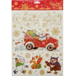 фото Пленка декоративная для окна Феникс-Презент 38624 «Медвежата и автомобиль»