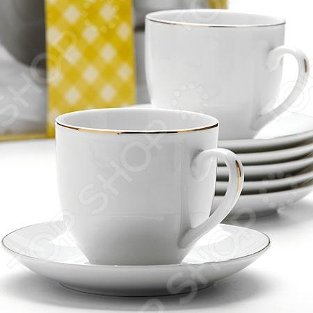 Чайный набор Loraine LR-25614Чайные и кофейные сервизы и наборы<br>Каждая хозяйка знает насколько важна в кулинарии сервировка и правильная подача блюд. От того как блюдо оформлено, в какой посуде подано и как смотрится на тарелке, зависит едва ли не половина вашего успеха. Чайный набор Loraine LR-25614 рассчитан на шесть персон. Он внесет яркий акцент в сервировку стола и станет отличным дополнением к набору ваших кухонных принадлежностей. Посуда выполнена из высококачественной керамики и украшена золотистой каймой. Набор упакован в красивую подарочную коробку.<br>