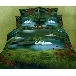 фото Комплект постельного белья Buenas Noches Lebedi. Satin Fotoprint. Евро