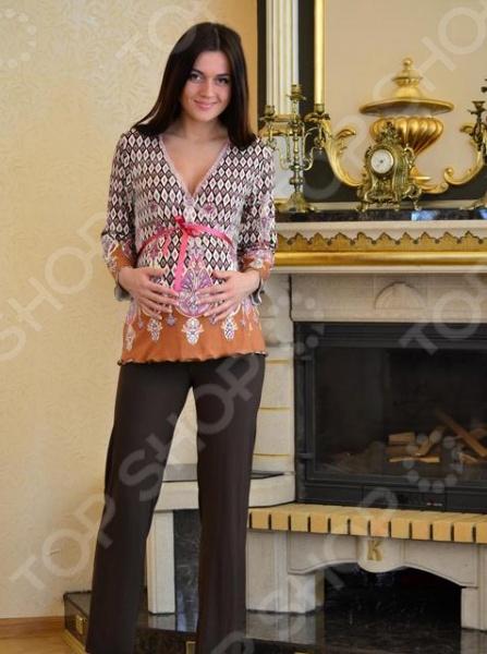 Костюм домашний для беременных Nuova Vita 405.4. Цвет: коричневый пижамы diadora домашний костюм