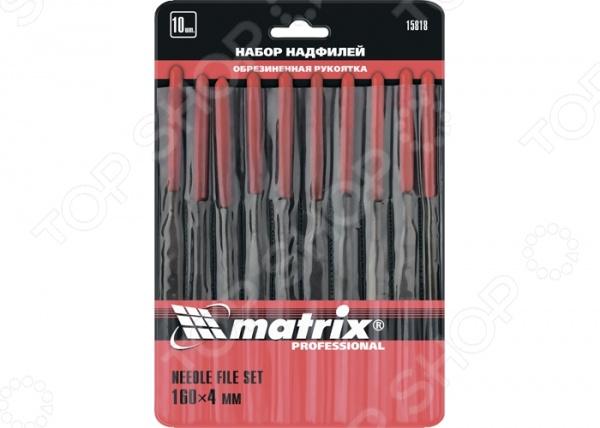 Набор надфилей MATRIX 15818Напильники. Надфили<br>Набор надфилей MATRIX 15818 инструменты для проведения различных слесарных работ. Предназначены для обработки и доводки изделий из стекла, керамики, а также для снятия фасок на стекле и прочих твердых материалах. Изготовлены из высокоуглеродистой стали, профили имеют двойную перекрестную насечку. В комплект входят 10 надфилей.<br>