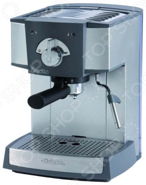 Кофеварка Ariete 1334 MinuettoКофеварки<br>Кофеварка Ariete 1334 Minuetto представляет собой прекрасное сочетание высокого качества, стильного современного дизайна и легкости приготовления любимого напитка. Кофеварка относится к емкостям рожкового типа, и позволяет без труда приготовить свежий и вкусный кофе из натуральных молотых зерен или чалд. Аппарат оснащен съемным лотком для сбора капель и индикацией уровня воды, что позволяет полностью контролировать процесс приготовления кофе. Особенности кофеварки Ariete 1334 Minuetto:  полуавтоматическое приготовление кофе;  ручное приготовление капучино;  корпус выполнен из нержавеющей стали высокого качества, что обеспечивает долговечность аппарата;  функция приготовления сразу двух чашек ускорит процесс.<br>