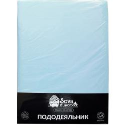 фото Пододеяльник гладкошерстный Сова и Жаворонок Premium. Цвет: светло-голубой. Размер пододеяльника: 175х216 см