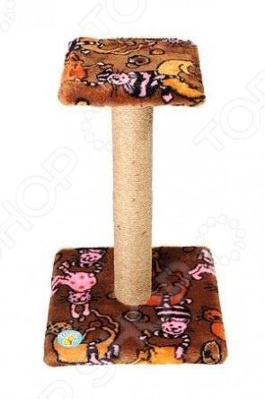 Когтеточка-столб ЗООНИК с полочкой и мехом. В ассортименте