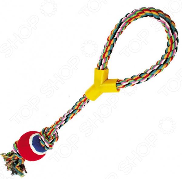 Игрушка для собак DEZZIE «Веревка №3»Игрушки для собак<br>Игрушка для собак DEZZIE Веревка 3 это игрушка из винила и текстиля, очень прочная и легкая, а значит подойдет для разных собак. Игрушку можно использовать в качестве апортировочных предметов, чтобы не опасаться повредить что-либо при броске. Собаки любят трепать и грызть мягкую игрушку, ведь ее удобно носить в зубах. Игрушки такого типа подойдут даже для тех собак, которые не очень любят играть в перетягивания, но любят носить с собой какой-то предмет. Эта игрушка станет одной из самых любимых у вашего четвероногого друга.  Она провоцирует вашего питомца на активные игры, которые являются не только хорошей физической нагрузкой, но и развлечением пока вас нет дома.  Игрушка может разнообразить прогулку, развить природные инстинкты и стать важным элементом дрессировки хорошего поведения. Регулярно играйте со своей собакой и вы увидите, что ответом вам служит безграничная любовь и преданность!<br>