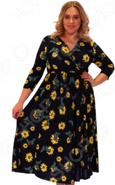 Платье Матекс «Легкий намек». Цвет: синийПовседневные платья<br>Платье Матекс Легкий намек это стильное платье с цветочным принтом, которое поможет вам создавать невероятные образы, всегда оставаясь женственной и утонченной. Благодаря полуприталенному силуэту оно скроет недостатки фигуры и подчеркнет достоинства. В этом платье вы будете чувствовать себя блистательно как на работе, так и на вечерней прогулке по городу. Благодаря грамотному дизайну и удобной длине ниже колена платье идеально смотрится на женщинах с любым типом фигуры и любого возраста. V-образный вырез горловины, рукава 3 4 подходят для женщин с любой полнотой рук. Линия талии подчеркнута, за счёт чего всё платье выглядит очень изящно. Платье изготовлено из мягкой ткани 100 полиэстер , благодаря чему материал не скатывается и не линяет после стирки. Даже после длительных стирок и использования платье будет выглядеть прекрасно. Не линяет, не скатывается, формы от стирки не теряет.<br>