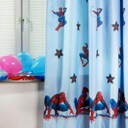 фото Тюль TAC Spiderman. Цвет: голубой