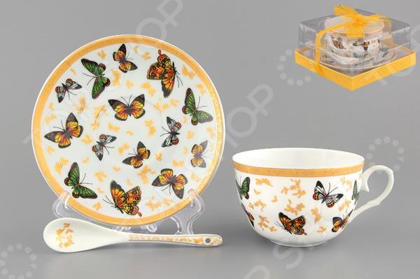 Чашка чайная с блюдцем и ложкой Elan Gallery «Бабочки» Elan Gallery - артикул: 534218